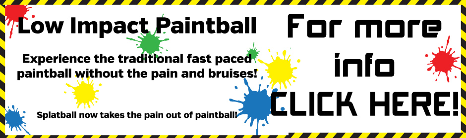 Low impact paintball now at splatball. Experience the same fast pace paintball experience with less stings and bruises!